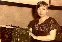 Rose at her typewriter